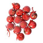 Set of 14 - Christmas Decoration Shatterproof Balls with Ribbons in the Gift Box (Dia 7.5 Cm) - Red