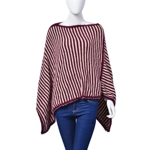 Burgundy and White Colour Stripe Pattern Poncho (Free Size)