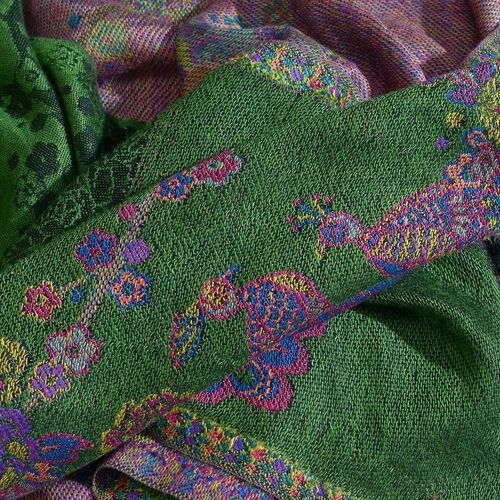 Green, Pink and Multi Colour Peacock Pattern Jacquard Scarf with Tassels (Size 180X70 Cm)