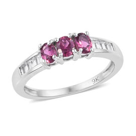 0.75 Ct AA Rubelite and Cambodian Zircon Classic Ring (Size L) in 9K White Gold 2.21 Grams