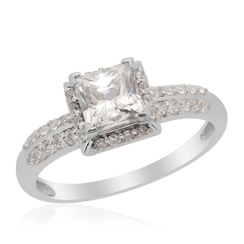 J Francis - Platinum Overlay Sterling Silver (Sqr) Ring Made with SWAROVSKI ZIRCONIA  1.812 Ct.