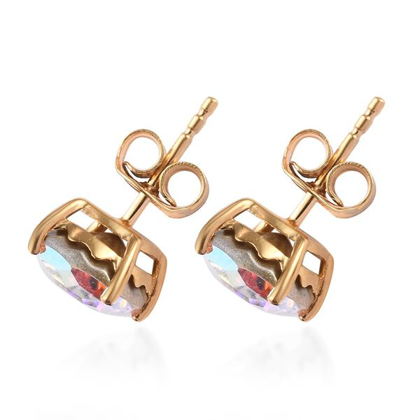 J Francis Crystal From Swarovski AB Crystal Stud Earrings (with Push Back) in 14K Gold Overlay Sterling Silver