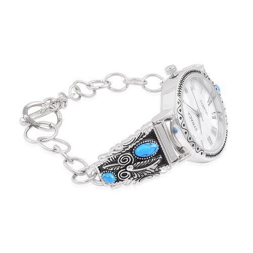 Bali Collection- Blue Howlite and White MOP Dial Water Resistant Bracelet Watch (Size 7 with 0.5 inch Extender) Silver Plated