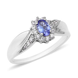 Tanzanite (Ovl), Natural White Cambodian Zircon Ring in Rhodium Overlay Sterling Silver