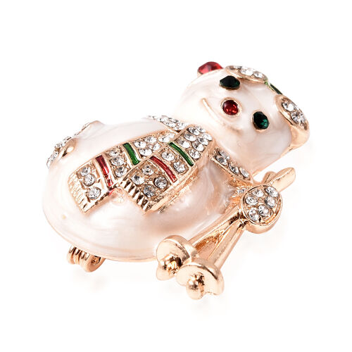 Multi Colour Austrian Crystal Enamelled Snowman Brooch in Gold Plated