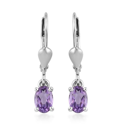 Zambian Amethyst Solitaire Lever Back Earrings in Platinum Overlay Sterling Silver