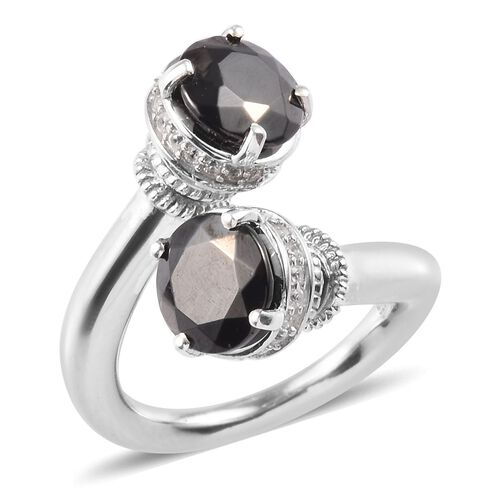 2.53 Ct Elite Shungite and Zircon Bypass Ring in Platinum Plated Sterling Silver