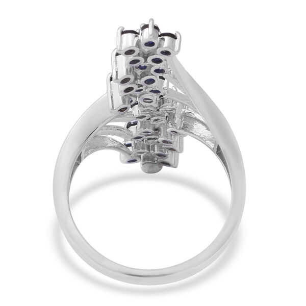 AA Kanchanaburi Blue Sapphire Floral Crossover Ring in Rhodium Overlay Sterling Silver 2.37 Ct, Silver wt 5.17 Gms