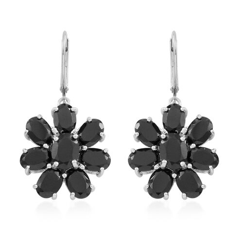 Boi Ploi Black Spinel (Ovl) Floral Lever Back Earrings in Rhodium Plated Sterling Silver 17.000 Ct. Silver wt. 6.30 Gms.