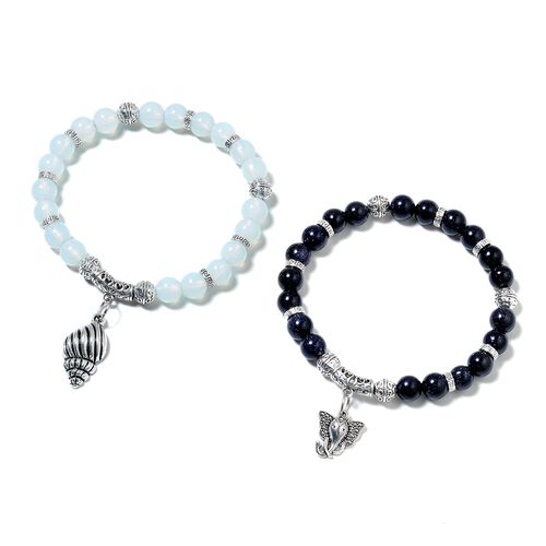 2 Piece Set - Blue Sandstone (Rnd), Opalite Beads Bracelet with Elephant and Shell Charm in Black Plated 156.500 Ct.