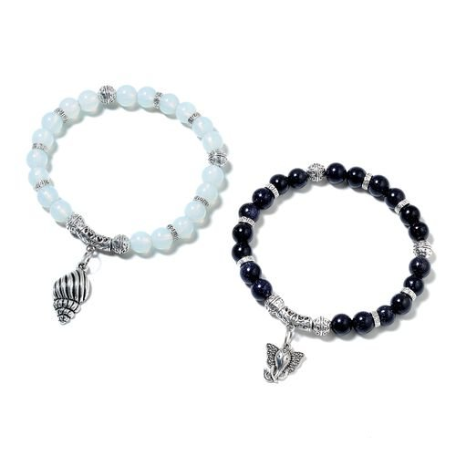 2 Piece Set - Blue Sandstone (Rnd), Opalite Beads Bracelet with Elephant and Shell Charm in Black Pl