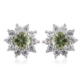 Close Out Deal - Russian Demantoid Garnet (Rnd), Naural Cambodian Zircon Floral Stud Earrings (with