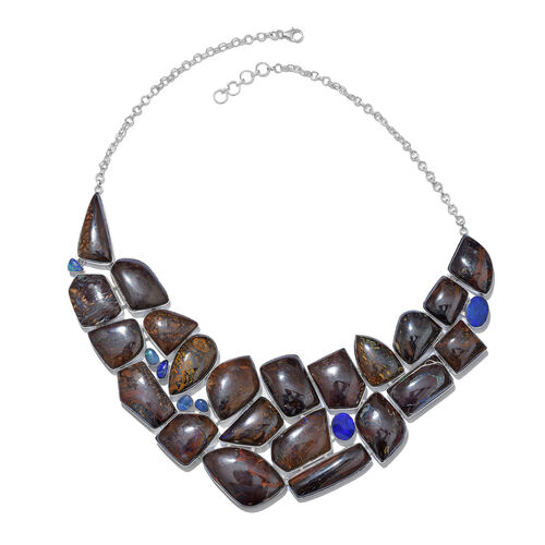 One Of A Kind- Boulder Opal Rock and Opal Double Necklace (Size 18 with 1 inch Extender) in Sterling Silver 725.800 Ct. Silver wt. 63.44 Gms.