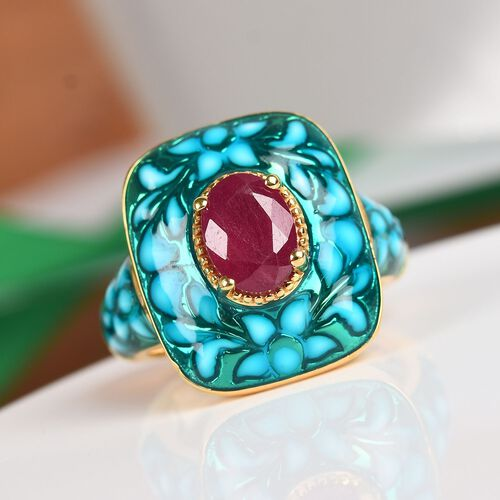 GP - AA African Ruby and Blue Sapphire Ring in 14K Gold Overlay Sterling Silver 1.52 Ct, Silver wt 6.46 Gms