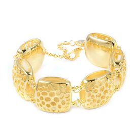 RACHEL GALLEY Yellow Gold Overlay Sterling Silver Memento Diamond Bracelet (Size 6.5 to 8), Silver wt 40.79 Gms.
