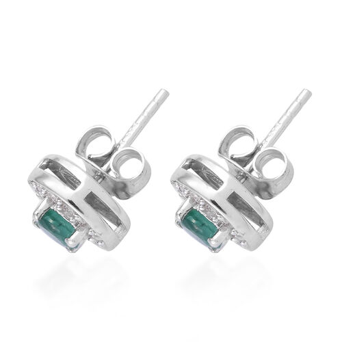 Brazilian Premium Emerald (Rnd), Natural Cambodian Zircon Stud Earrings (with Push Back) in Platinum Overlay Sterling Silver 1.000 Ct.