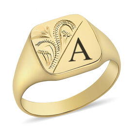 Personalised Engravable 9ct yellow gold square pattern signet ring