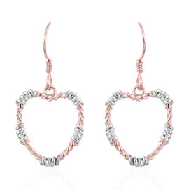 Rose Gold Overlay Sterling Silver Heart Hook Earrings