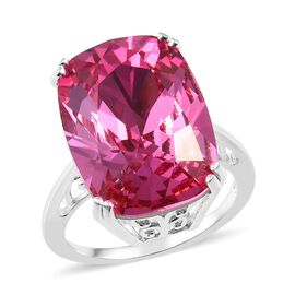 J Francis - Crystal from Swarovski Rose Colour Crystal (Cush 18x13 mm) Ring in Sterling Silver