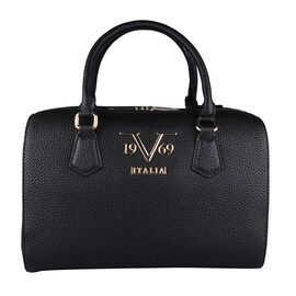 19V69 ITALIA by Alessandro Versace Litchi Pattern Bowling Bag with Detachable Shoulder Strap and Zipper Closure (Size 29x15x18Cm) - Black