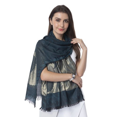 Dark Green, Golden and Black Colour Scarf with Bamboo Shoot Pattern (Size 180x68 Cm)