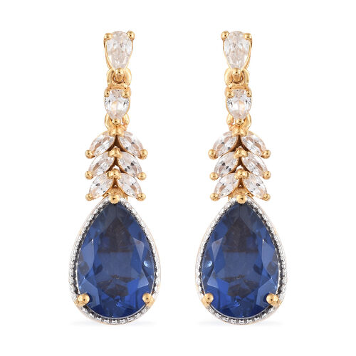 Ceylon Colour Quartz (Pear), Natural Cambodian Zircon Earrings (with Push Back) in 14K Gold Overlay