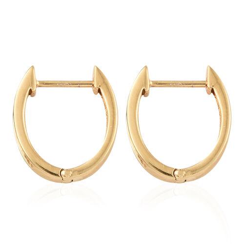Diamond (Bgt) Hoop Earrings (with Clasp Lock) in 14K Gold Overlay Sterling Silver