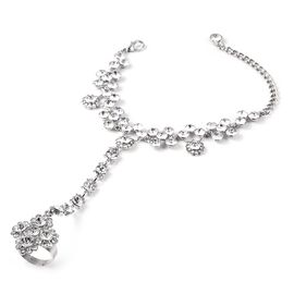 White Austrain Crystal Bracelet with Attached Ring (Size 6.50) in Silver Tone