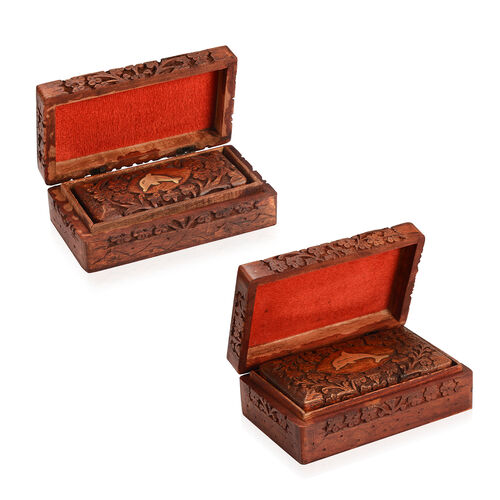 3 Piece Set - Handcrafted Dolphin Nested Boxes In Mango Wood With Rosewood Finish (Small Size 5.3x2.25x1.25 Cm), (Medium Size 6.7x3.5x2) and (Large 8x5x2.75 Cm)
