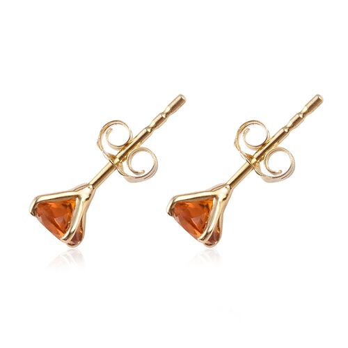 9K Yellow Gold AA Madeira Citrine Stud Earrings (with Push Back) 0.50 Ct.