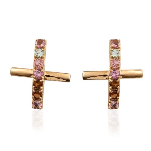 Rainbow Tourmaline (Rnd) Stud Earrings (with Push Back) in 14K Gold Overlay Sterling Silver 1.500 Ct.