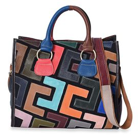 100% Genuine Leather Multi Colour Tote Bag with Detachable Shoulder Strap and Zipper Closure (Size 3