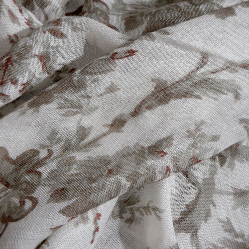 Dark Grey and Off White Colour Floral Printed Scarf with Fringes (Size 180X70 Cm)