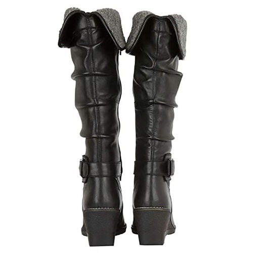 Lotus Black Leather Dandy Knee High Boots (Size 5)
