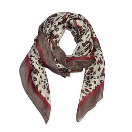 100% Mulberry Silk Animal Print Scarf (Size 100x100 Cm) - Red and Multicolour