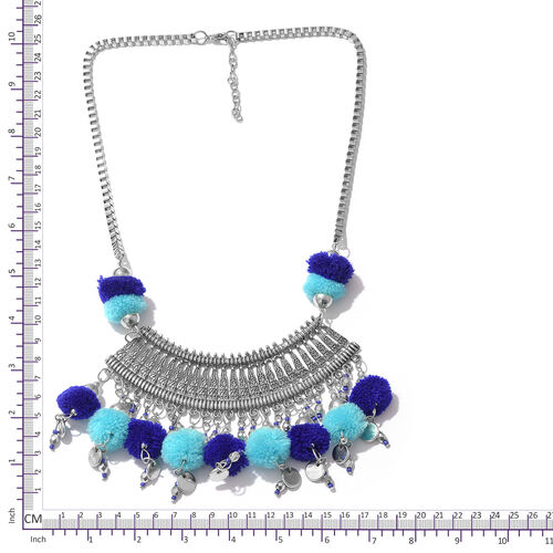 Trendy Boho Style Pom-Pom Necklace in Silver Bond