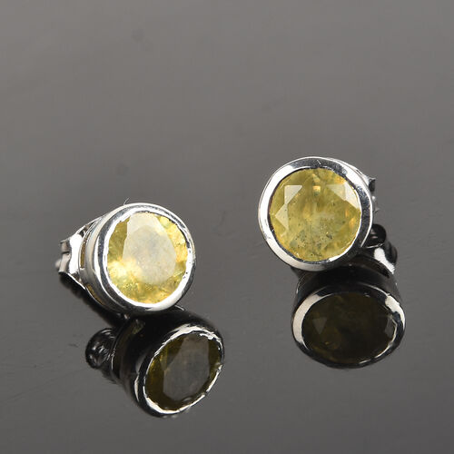 Yellow Sapphire Stud Earrings (with Push Back) in Platinum Overlay Sterling Silver 2.50 Ct.