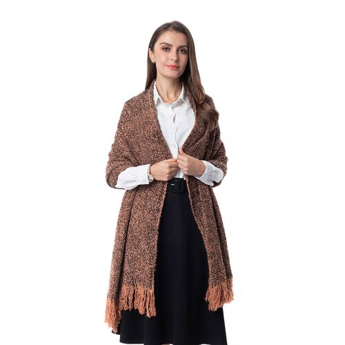 Designer Inspired -Brown and Black Colour Blanket Shawl (Size 200x64 Cm)
