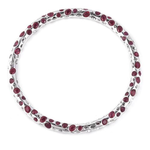 RACHEL GALLEY African Ruby (Ovl and Rnd) Bangle (Size 8) in Rhodium Overlay Sterling Silver 18.770 Ct, Silver wt 27.45 Gms.