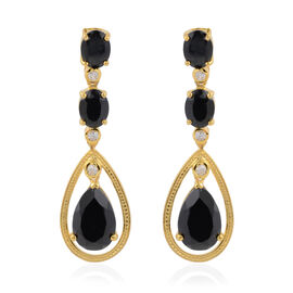 Natural Boi Ploi Black Spinel (Pear), Natural Cambodian White Zircon Earrings (with Push Back) in Ye