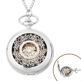GENOA Automatic Mechanical Hollow-Out Flower Pattern Pocket Watch with Chain in Silver Tone