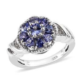 Tanzanite (Rnd and Trl), Natural Cambodian Zircon Ring in Platinum Overlay Sterling Silver 1.15 Ct.