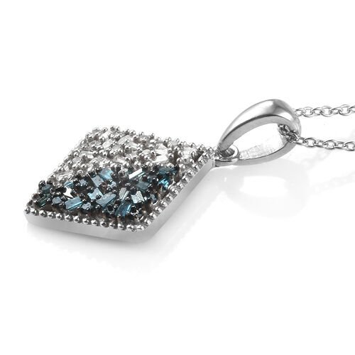 Blue and White Diamond (Rnd and Bgt) Pendant With Chain (Size 20) in Platinum Overlay with Blue Plating Sterling Silver 0.330 Ct.