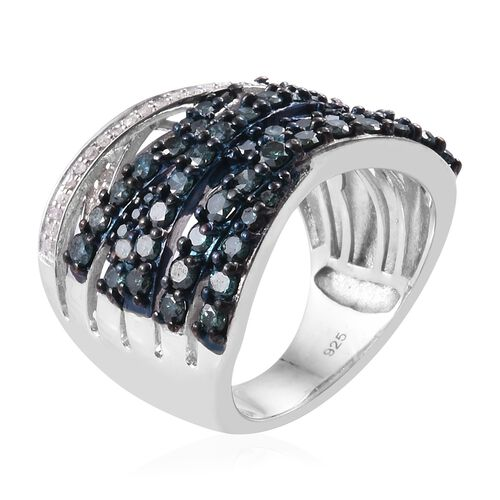 Blue and White Diamond (Rnd) Platinum Overlay Sterling Silver Crossover Ring 1.75 Ct, Silver wt 7.98 Gms.