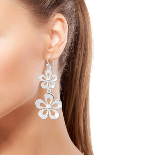 Designer Inspired- Sterling Silver Flower Earrings (with Fish Hook), Silver wt 6.70 Gms.