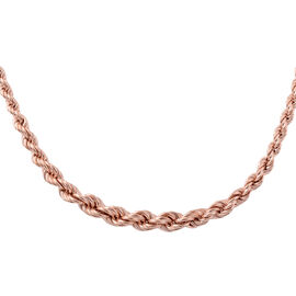 JCK Vegas Rope Chain Necklace in Rose Gold Plated Silver 18.80 Grams 18 With 2 inch Extender