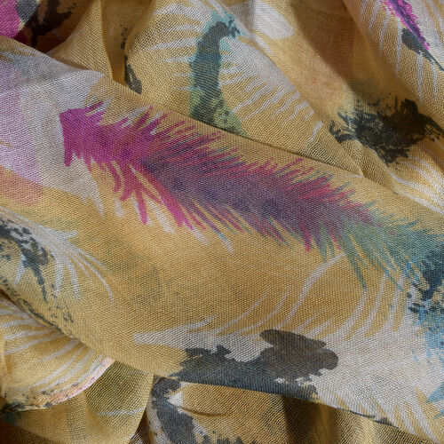 Yellow and Multi Colour Scarf (Size 180x70 Cm)