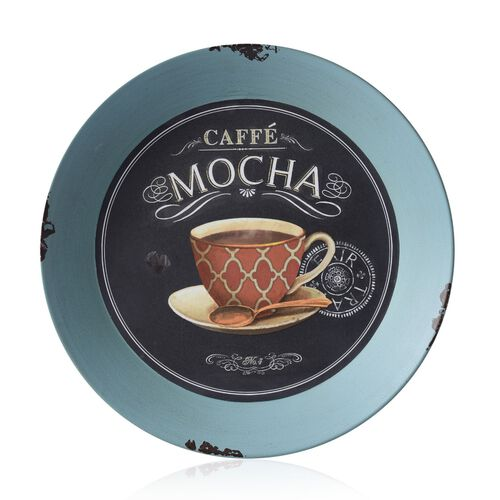 Wall Decor - Round Shape Coffee Cup Design Blue Colour Wall Hanging (Size 33 Cm)