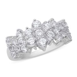 Natural Cambodian Zircon (Rnd) Cluster Ring in Rhodium Overlay Sterling Silver 3.73 Ct.