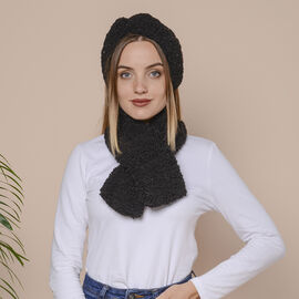 2 Piece Set - Faux Wool Scarf (Size 88x12cm) and Headband (Size 27x10cm) - Black